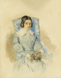 Fine Art - Painting, Russian, RUSSIAN SCHOOL (19th Century). Portrait of a Girl with her Dog. Watercolor on paper. 10-1/4 x 7-3/4 inches (26.0 x 19.7 ...