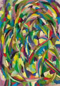 Fine Art - Painting, Russian:Modern (1900-1949), Attributed to ANDRÉ LANSKOY (Russian/French, 1902-1976). Abstract. Oil on canvas. 27-5/8 x 20 inches (70.2 x 50.8 cm). S...