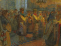 Fine Art - Painting, Russian:Modern (1900-1949), NIKOLAI PETROVICH BOGDANOV-BEL'SKY (Russian, 1868-1945). Peasant Wedding. Oil on canvas. 21-1/2 x 28-3/4 inches (54.6 x ...
