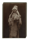 Photography:Cabinet Photos, Large Photograph of Native American Indian with War Bonnet ca 1890s-1900s....