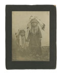 Western Expansion:Indian Artifacts, Large Imperial Size Photograph of Indian Children with Full Headdresses, ca. 1890s. ...