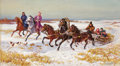 Fine Art - Painting, Russian:Modern (1900-1949), STANISLOV POTEKHA (Russian, 20th Century). A Troika and Huntersin Winter. Oil on canvas. 26-1/8 x 46-1/8 inches (66.3 x...
