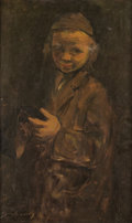 Fine Art - Painting, Russian, PINCHAS LITVINOVSKY (Russian/Israeli, 1894-1985). HasidicBoy. Oil on canvas. 24 x 15 inches (61.0 x 38.1 cm). Signedlo...