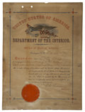 Military & Patriotic:Indian Wars, Indian Affairs Document, Fort Belknap Agency, Montana, 1894. ...