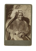 Military & Patriotic:Indian Wars, Cabinet Card Photograph of Geronimo Holding a Dance Revolver, early 1900s....
