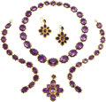 Estate Jewelry:Suites, Victorian Foilback Amethyst, Gold Parure. ... (Total: 6 Items)