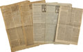 Autographs:Statesmen, Boston Newspaper Archive of Five Complete Issues, 1779-1793, ...(Total: 5 Items)