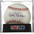 Autographs:Baseballs, Bob Gibson Single Signed Baseball, PSA Gem Mint 10. Aggressivepitcher Bob Gibson has applied a signature so perfect to an e...