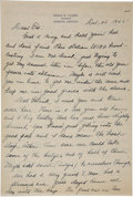 Autographs:Letters, 1945 Earle Combs Signed Handwritten Letter. Elegant three-pagehandwritten correspondence dates from 1945 and comes from th...