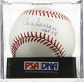 "Autographs:Baseballs, Don Sutton ""HOF 98"" Single Signed Baseball, PSA Mint 9. As far aspitchers go, it seems that 300 wins and 3,000 strikeouts g..."
