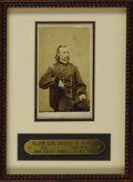 Military & Patriotic:Civil War, Major General George A. Custer Carte De Visite, by John Goldin & Co., May 1865. Framed with a custom brass nameplate to...