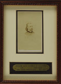 Military & Patriotic:Civil War, Major General George A. Custer Carte De Visite, by John Goldin & Co., May, 1865. Framed with a custom brass nameplate to...