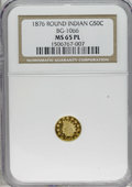 California Fractional Gold: , 1878/6 50C Indian Round 50 Cents, BG-1066, High R.5, MS65 ProoflikeNGC. Typically struck with slight waviness noted in the...