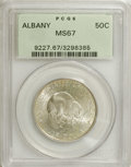 Commemorative Silver: , 1936 50C Albany MS67 PCGS. Thin tan-gold patina graces the right obverse and much of the reverse of this otherwise silver-g...
