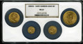 Four Coin Indian and Saint-Gaudens Gold Type Set. MS63 NGC. This four coin set consists of a 1925-D quarter eagle, a 190...