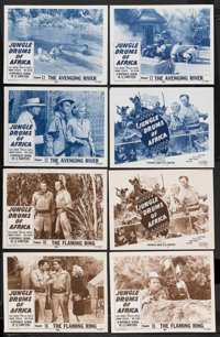 """Jungle Drums of Africa (Republic, 1953). Lobby Card Sets of 4 (2) (11"""" X 14"""") Chapter 10 -- """"The Flaming..."""