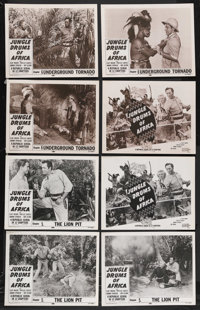 """Jungle Drums of Africa (Republic, 1953). Lobby Card Sets of 4 (2) (11"""" X 14"""") Chapter 5 -- """"The Lion Pit&..."""