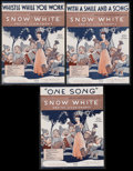 "Movie Posters:Animated, Snow White and the Seven Dwarfs (RKO, 1937). Sheet Music (3) (9"" X 12""). Animated Musical. Starring the voices of Adriana Ca... (Total: 3 Items)"
