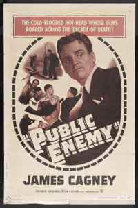 """The Public Enemy (Warner Brothers, R-1954). One Sheet (27"""" X 41""""). Crime. Starring James Cagney, Jean Harlow..."""