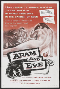 "Adam and Eve (William A. Horne, 1958). One Sheet (27"" X 41""). Drama. Starring Christiane Martel and Carlos Bae..."
