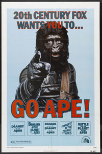 "Go Ape! (20th Century Fox, 1974). Planet of the Apes Film Festival One Sheet (27"" X 41""). This poster was desi..."