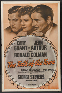 "The Talk of the Town (Columbia, R-1949). One Sheet (27"" X 41""). Comedy. Cary Grant, Jean Arthur and Ronald Col..."