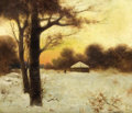 Fine Art - Painting, Russian:Modern (1900-1949), Attributed to YULIY YULEVICH KLEVER (Russian, 1850-1924). WinterCottage, 1901. Oil on panel. 18-3/4 x 22 inches (47.6 x...