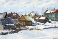 Fine Art - Painting, Russian:Contemporary (1950 to present), VIKTOR KOROVIN (Russian, 1936-1991). Colorful Village, 1965.Oil on board. 19 x 27 inches (48.3 x 68.6 cm). Signed lower...