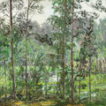 Fine Art - Painting, Russian:Contemporary (1950 to present), VIKTOR KOROVIN (Russian, 1936-1991). Lake in the Woods,1971. Oil on board. 24 x 24 inches (61.0 x 61.0 cm). Signed lowe...