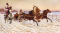 Fine Art - Painting, Russian:Modern (1900-1949), STANISLOV POTEKHA (Russian, 20th Century). Hunter Greeting aTroika in Winter. Oil on canvas. 26-1/8 x 46-1/8 inches (66...
