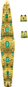 Estate Jewelry:Suites, Emerald, Gold Jewelry Suite. ... (Total: 3 Items)