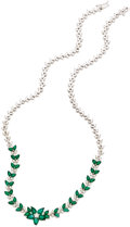 Estate Jewelry:Necklaces, Diamond, Emerald, White Gold Necklace. ...