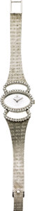 "Timepieces:Wristwatch, Rolex Lady's Diamond, White Gold ""Mirror"" Dial Integral Bracelet Wristwatch, circa 1970. ..."