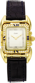 "Timepieces:Wristwatch, Tabbah Lady's Diamond, Sapphire, Gold ""Saga"" Wristwatch, modern...."