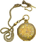 Timepieces:Pocket (pre 1900) , Wm. Adams Liverpool Gold Fusee with Fancy Dial and Gold Chain,circa 1850. ...