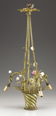 A LOUIS XVTH-STYLE THREE-LIGHT CHANDELIER Possibly American, 20th Century 27 inches (68.6 cm) high