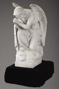 Marble:European, A LARGE CONTINENTAL MARBLE ANGEL. 19th Century. 42 inches (106.7cm) high. ...
