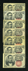 Fractional Currency:Fifth Issue, Fr. 1264 10c Fifth Issue. Five Examples. VG or Better. Fr. 1265 10cFifth Issue. Two Examples. XF.... (Total: 7 notes)