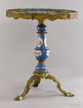 Furniture : French, A FRENCH LOUIS XVTH-STYLE GILT BRONZE AND PORCELAIN PEDESTAL TABLE. Early 20th Century. 29-1/2 x 24 inches (74.9 x 61.0 cm)...