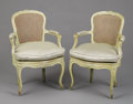 Furniture : French, A PAIR OF LOUIS XVTH PAINTED FAUTEUILS. Last Half 18thCentury. 35 x 25 x 20 inches (88.9 x 63.5 x 50.8 cm) each. ...(Total: 2 Items)