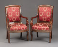 Furniture : French, A PAIR OF FRENCH EMPIRE MAHOGANY FAUTEUILS. Circa 1800-1830.37 x 17-1/2 x 19 inches (94.0 x 44.5 x 48.3 cm) each. ... (Total: 2Items)