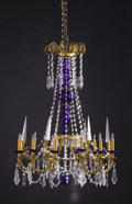 Decorative Arts, French:Lamps & Lighting, A PAIR OF FRENCH GLASS TWELVE-LIGHT CHANDELIERS. 19th Century.42-1/2 inches (108.0 cm) high, each. ... (Total: 2 Items)