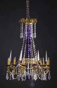 A PAIR OF FRENCH GLASS TWELVE-LIGHT CHANDELIERS 19th Century 42-1/2 inches (108.0 cm) high, each