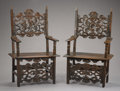 Furniture : Continental, A PAIR OF ITALIAN RENAISSANCE WALNUT ARMCHAIRS. Late 17th Century.53-1/2 x 32-1/4 x 16-3/4 inches (135.9 x 81.9 x 42.5 cm) ...(Total: 2 Items)