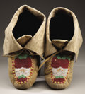 American Indian Art:Beadwork and Quillwork, A PAIR OF CHIPPEWA BEADED HIDE MOCCASINS. c. ... (Total: 2 Items)