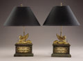 Decorative Arts, French:Lamps & Lighting, A PAIR OF EMPIRE-STYLE GILT BRONZE SPHINX-FORM CHENETS .20th Century. 11-1/2 inches (29.2 cm) high, each. ... (Total: 2Items)
