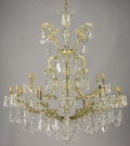 Decorative Arts, Continental:Lamps & Lighting, A CZECH CUT CRYSTAL EIGHTEEN-LIGHT CHANDELIER. 19th-20th century.44 inches (111.8 cm) high. ...