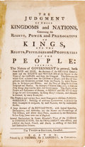 Books:Pamphlets & Tracts, [John Somers]. The Judgment of Whole Kingdoms and NationsConcerning the Rights,...
