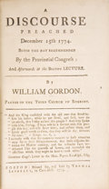 Books:Pamphlets & Tracts, William Gordon. A Discourse Preached December 15, 1774....