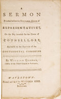 Books:Pamphlets & Tracts, William Gordon. A Sermon Preached Before the Honorable House ofRepresentatives,...